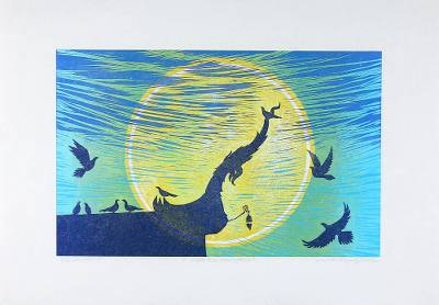 'Under the Moonlight' - Signed Woodcut Print of Birds on a Thai Temple Roof