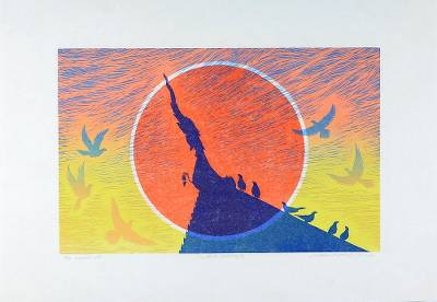 'In the Morning' - Signed Woodcut Print of Birds at a Temple at Dawn