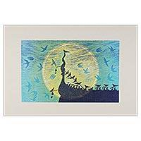 'Under the Moonlight II' - Buddhist Nature Theme Thai Woodcut Print