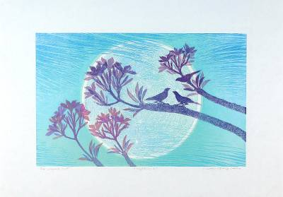 'Nighttime II' - Floral Landscape Woodcut Print in Blue and Violet