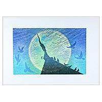 'Nighttime I' - Signed Blue Moonlight Print from Thailand