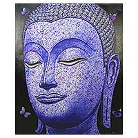 'Buddha Image in Purple' (2016) - Thai Painting of Purple Sukhothai Buddha with Butterflies