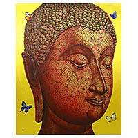 'Buddha Image in Gold I' (2016) - Golden Sukhothai Buddha with Butterflies Thai Painting