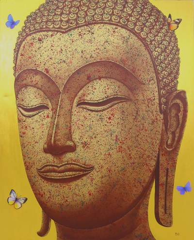 'Buddha Image in Gold II' (2016) - Thai Painting of Golden Sukhothai Buddha with Butterflies