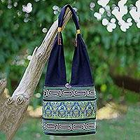 Cotton blend shoulder bag, 'Spring Green Thai' - Cotton Blend Shoulder Bag Black Green Embroidered Thailand
