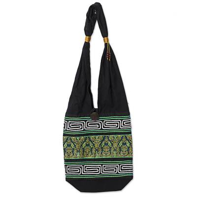 Cotton Blend Shoulder Bag Black Green Embroidered Thailand