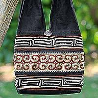 Cotton shoulder bag, 'Color of the Morning' - 100% Cotton Shoulder Bag Black and Brick from Thailand