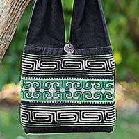 Cotton shoulder bag, 'Forest Colors' - 100% Cotton Green Black Embroidered Shoulder Bag Thailand