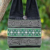 Cotton shoulder bag, 'Forest Colors' - 100% Cotton Green Black Embroidered Shoulder Bag Thailand