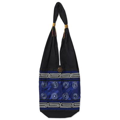 Novica Cotton and silk blend shoulder tote bag, Summer Indigo