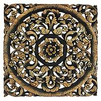 Teakwood relief panel, 'Luscious Garden' - Hand-carved Reclaimed Flower and Leaf Teakwood Wall Panel