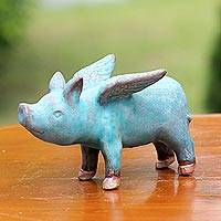 Ceramic figurine, 'Blue Flying Pig' - Ceramic Figurine of a Winged Blue Pig from Thailand