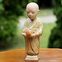 Ceramic statuette, 'Modest Monk' - Handmade Ceramic Monk Statuette from Thailand