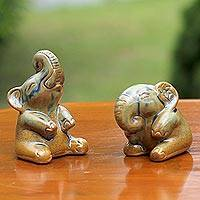 Ceramic figurines, 'Joyful Elephants' (pair) - Ceramic Figurines of Green Elephants (Pair) from Thailand