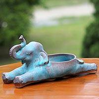 Ceramic dish, 'Elephant's Edibles' - Turquoise and Bronze Ceramic Elephant Dish from Thailand