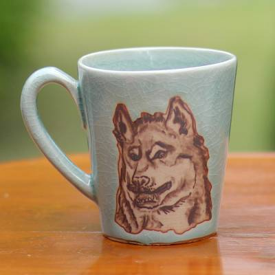 Celadon ceramic mug, 'Lupine Libation' - Hand Made Green Celadon Ceramic Painted Thai Wolf Mug