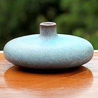 Ceramic bud vase, 'Turquoise Cascade' - Handcrafted Watertight Turquoise Thai Ceramic Bud Vase