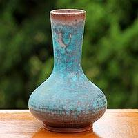 Ceramic bud vase, 'Coral Cluster' - Hand Crafted Abstract Turquoise Thai Ceramic Bud Vase
