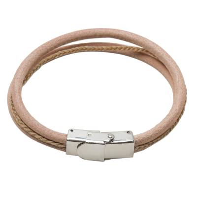 Modern Leather Wristband Bracelet in Tan from Thailand