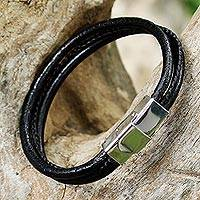 Leather wristband bracelet, 'Striking Modernity in Black' - Modern Black Leather Wristband Bracelet from Thailand