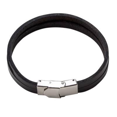 Black Leather Double Wristband Bracelet from Thailand