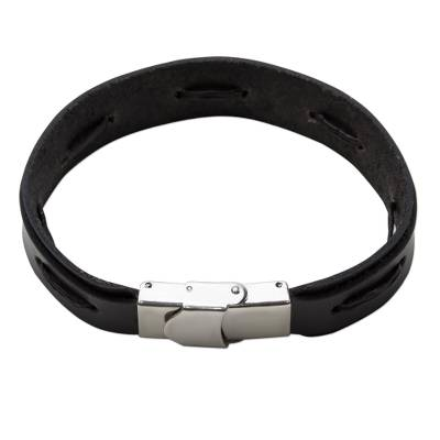 Hand Crafted Black Leather Wristband Bracelet from Thailand
