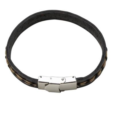Leather Wristband Bracelet in Black and Tan from Thailand