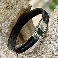 Leather wristband bracelet, 'The Road Ahead in Black' - Simplistic Leather Wristband Bracelet in Black from Thailand