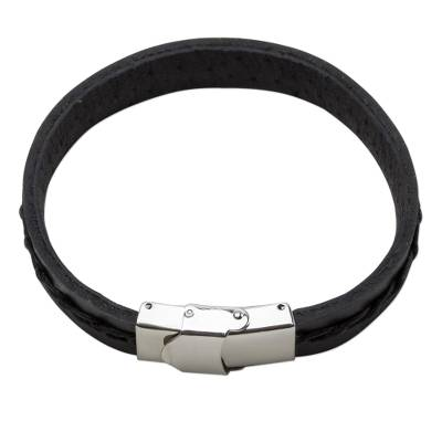 Simplistic Leather Wristband Bracelet in Black from Thailand