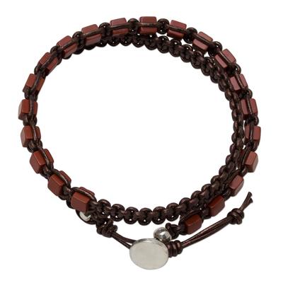 Jasper and leather wrap bracelet, 'Charming Stones' - Handmade Red Jasper and Leather Wrap Bracelet from Thailand