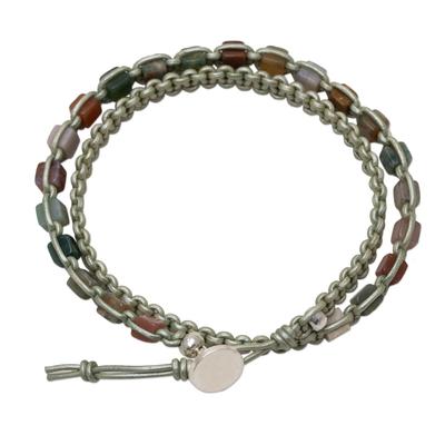 Jasper and leather wrap bracelet, 'Stone Charmer' - Handmade Jasper and Leather Wrap Bracelet from Thailand
