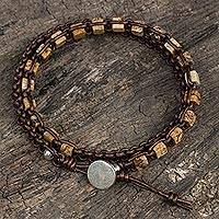 Jasper and leather wrap bracelet, 'Stone Charms'