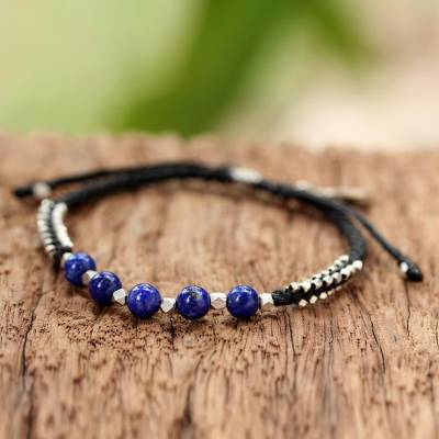 Lapis lazuli beaded bracelet, Blissful Breeze