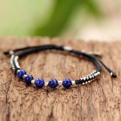 Lapis lazuli beaded bracelet, 'Blissful Breeze' - Lapis Lazuli and Sterling Silver Beaded Bracelet with Leaf