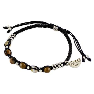 Agate beaded bracelet, 'Blissful Breeze' - Agate and Sterling Silver Beaded Braided Bracelet with Leaf