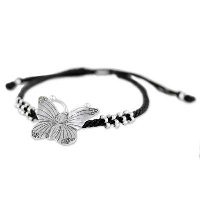 Hand Crafted Silver Butterfly Pendant Bracelet from Thailand