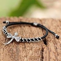 Silver pendant bracelet, 'Dragonfly Luck'