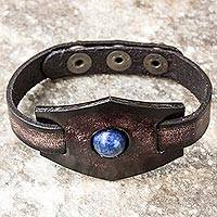 Lapis lazuli and leather wristband bracelet, 'Blue Soul'
