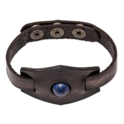 Hancrafted Leather and Lapis Lazuli Adjustable Bracelet