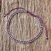 Sterling silver wristband bracelet, 'Enchanted Silver in Plum' - Handcrafted Sterling Silver Wristband Bracelet in Plum