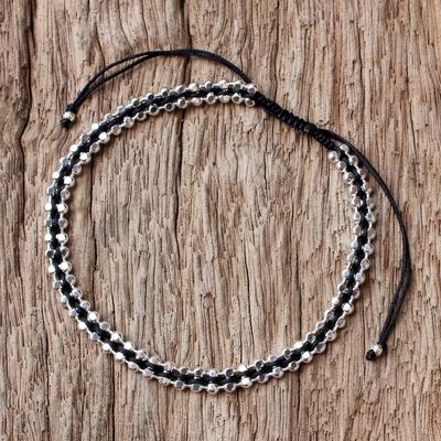 Novica Sterling silver wristband bracelet, Enchanted Silver in Plum