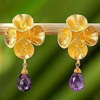 Gold plated amethyst dangle earrings, 'Floral Gold' - Floral Gold Plated Sterling Silver Amethyst Dangle Earrings