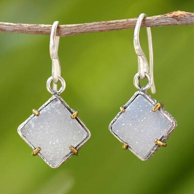 Sterling Silver Drusy Quartz  Dangle Earrings