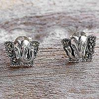 Marcasite stud earrings, 'Hello Elephant' - Sterling Silver and Marcasite Elephant Stud Earrings