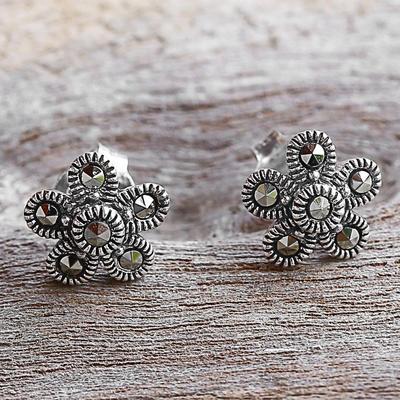 Sterling Silver Marcasite Stud Earrings