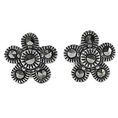 Marcasite stud earrings, 'Pretty Blossoms' - Sterling Silver and Marcasite Flower Stud Earrings