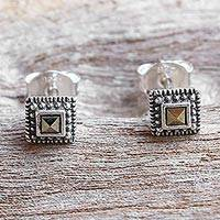 Marcasite stud earrings, 'Gorgeous Love' - Sterling Silver and Marcasite Square Stud Earrings