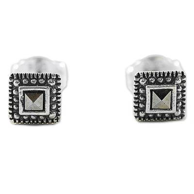 Sterling Silver and Marcasite Square Stud Earrings