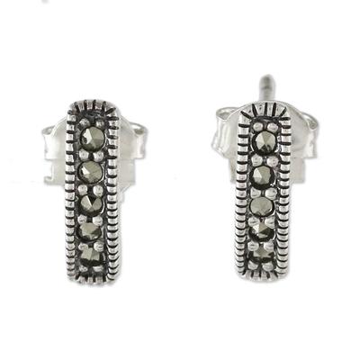 Marcasite drop earrings, 'Sparkling Charm' - Sterling Silver and Marcasite Drop Earrings from Thailand
