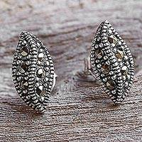 Marcasite stud earrings, 'The Leaves' - Sterling Silver and Marcasite Stud Leaf Earrings